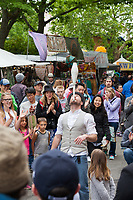 Juggler and street performer, Northwest Folklife Festival 2016, Seattle Center, Washington, USA.