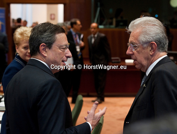 Brussels-Belgium - June 29, 2012 -- European Council, EU-summit meeting of Heads of State / Government; here, Mario DRAGHI (le), President of the European Central Bank, with Mario MONTI (ri), Prime Minister of Italy -- Photo: © HorstWagner.eu