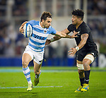 September 29, 2018. Jose Amalfitani, Buenos Aires, Argentina. Nicolas Sanchez breaking the All Blacks Ardie Savea's defense during the first half of the game.