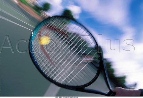 An effect shot of a tennis racquet hitting the ball, 96 Photo: Chris Cole/Action Plus...1996.  detail.sports equipment. s.  ident.tennis blur blurred.ball balls.racket.closeup close up close-up.illustration