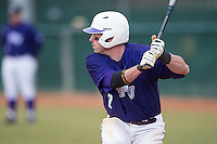 Dane McDermott (7) of the High Point Panthers at bat against the UNCG Spartans at Willard Stadium on February 14, 2015 in High Point, North Carolina.  The Panthers defeated the Spartans 12-2.  (Brian Westerholt/Four Seam Images)