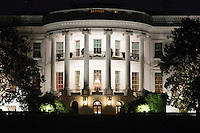 The White House is illuminated at night as seen from the South Lawn during a state dinner hosted by US President Barack Obama for Italian Prime Minister Matteo Renzi, on the South Lawn of the White House in Washington DC, USA, 18 October 2016. President Obama hosts his final state dinner, featuring celebrity chef Mario Batali and singer Gwen Stefani performing after dinner. <br /> Credit: Michael Reynolds / Pool via CNP / MediaPunch