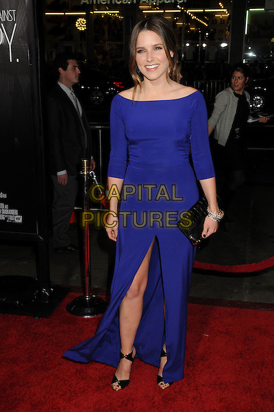"Sophia Bush.""This Means War"" Los Angeles Premiere held at Grauman's Chinese Theatre, Hollywood, California, USA..February 8th, 2012.full length purple blue dress slit split black clutch bag.CAP/ADM/BP.©Byron Purvis/AdMedia/Capital Pictures."