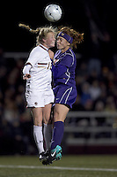 "Boston College midfielder Julia Bouchelle (12) and University of Washington forward Sarah Martinez (5) battle for high corner kick. In overtime, Boston College defeated University of Washington, 1-0, in NCAA tournament ""Elite 8"" match at Newton Soccer Field, Newton, MA, on November 27, 2010."