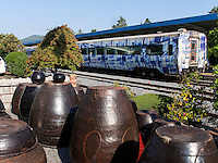 Kimchi-Töpfe am Bahnhof von Boseong, Provinz Jeollanam-do, Südkorea, Asien<br /> Kimchi -pottery at station of  Boseong,, province Jeollanam-do, South Korea, Asia