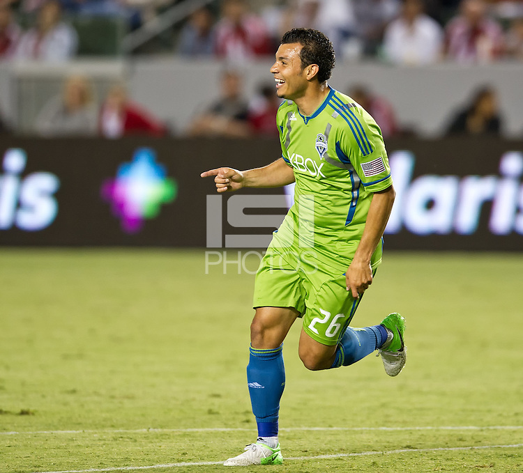 CARSON, CA - August 25, 2012: Seattle forward Sammy Ochoa (26) during the Chivas USA vs Seattle Sounders match at the Home Depot Center in Carson, California. Final score, Chivas USA 2, Seattle Sounders 6.