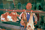Welsh butcher Mountain Ash south Wales. Tom Price  in his Oxford Street local butchers shop 1998 1990s UK