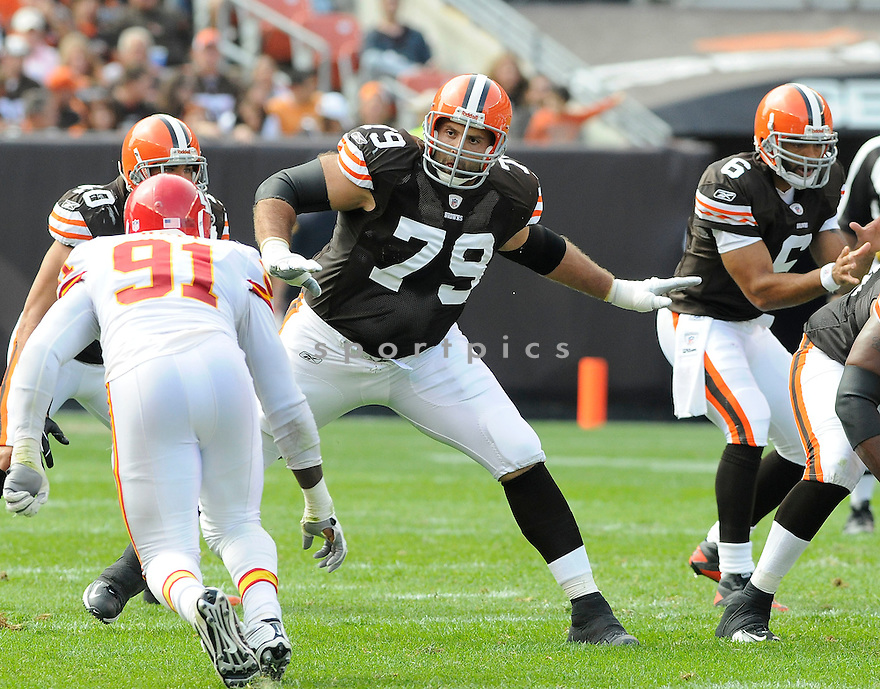 TONY PASHOS, of the Cleveland Browns, in action during the Browns game against the Kansas City Chiefs on September 19, 2010 in Cleveland, Ohio...Chiefs win 16-14..SportPics