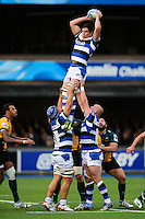 Francois Louw rises high to win lineout ball. Amlin Challenge Cup Final, between Bath Rugby and Northampton Saints on May 23, 2014 at the Cardiff Arms Park in Cardiff, Wales. Photo by: Rogan Thomson / Onside Images