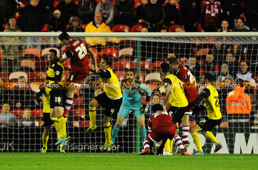 Daniel Sánchez Ayala of Middlesbrough scores a late equaliser - Middlesbrough vs Watford - Sky Bet Championship Football at the Riverside Stadium, Middlesbrough - 09/11/13 - MANDATORY CREDIT: Steven White/TGSPHOTO - Self billing applies where appropriate - 0845 094 6026 - contact@tgsphoto.co.uk - NO UNPAID USE