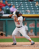 Teoscar Hernandez (15) of the Fresno Grizzlies at bat against the Salt Lake Bees in Pacific Coast League action at Smith's Ballpark on April 17, 2017 in Salt Lake City, Utah. The Bees defeated the Grizzlies 6-2. (Stephen Smith/Four Seam Images)