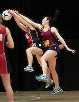 05.10.2012 Southland's Suzanne Black and Counties Manukau's Samantha Rowe in action during the netball match between Southland and Counties Manukau at the Lion Foundation Netball Champs in Tauranga. Mandatory Photo Credit ©Michael Bradley.