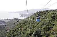 La funivia che collega Rapallo al Santuario di Montallegro<br /> The cable car connecting Rapallo to the sanctuary of Montallegro.<br /> UPDATE IMAGES PRESS/Riccardo De Luca