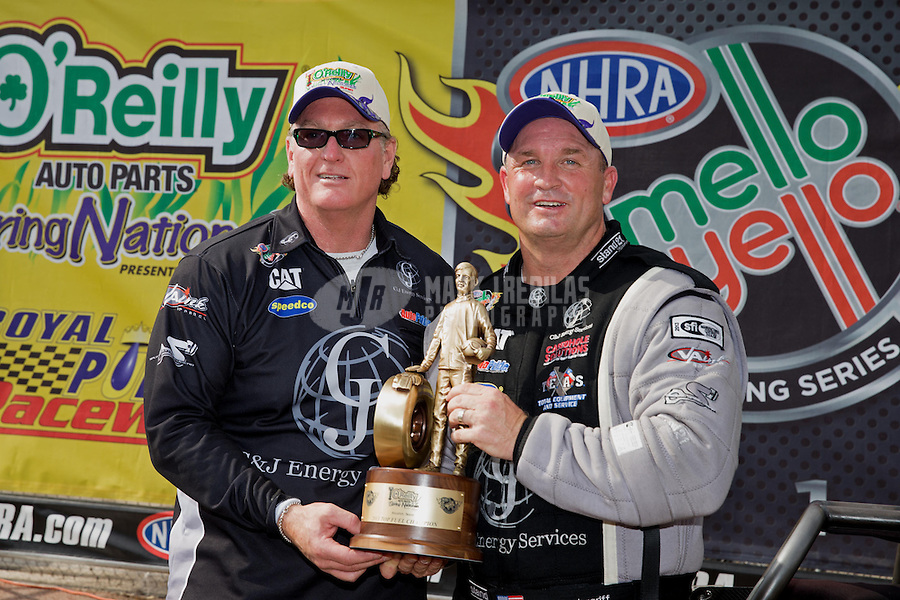 Apr. 28, 2013; Baytown, TX, USA: NHRA top fuel dragster driver Bob Vandergriff Jr celebrates with crew after winning the Spring Nationals at Royal Purple Raceway. Mandatory Credit: Mark J. Rebilas-