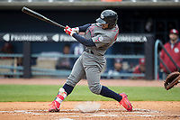 Lehigh Valley IronPigs second baseman Jesmuel Valentin (7) swings the bat against the Toledo Mud Hens during the International League baseball game on April 30, 2017 at Fifth Third Field in Toledo, Ohio. Toledo defeated Lehigh Valley 6-4. (Andrew Woolley/Four Seam Images)