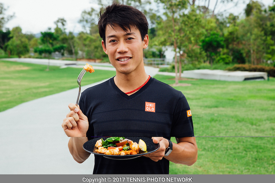 KEI NISHIKORI of JAPAN (JPN) <br /> <br /> 2017 BRISBANE INTERNATIONAL, PAT RAFTER ARENA, BRISBANE TENNIS CENTRE, BRISBANE, QUEENSLAND, AUSTRALIA<br /> <br /> &copy; TENNIS PHOTO NETWORK