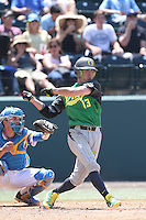 Tyler Baumgartner #13 of the Oregon Ducks bats against the UCLA Bruins at Jackie Robinson Stadium on May 18, 2014 in Los Angeles, California. Oregon defeated UCLA, 5-4. (Larry Goren/Four Seam Images)