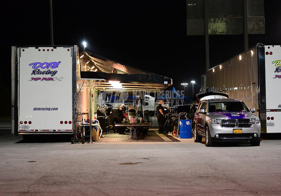 Jan. 17, 2013; Jupiter, FL, USA: The pit area of NHRA top fuel dragster driver Leah Pruett during testing at the PRO Winter Warmup at Palm Beach International Raceway.  Mandatory Credit: Mark J. Rebilas-