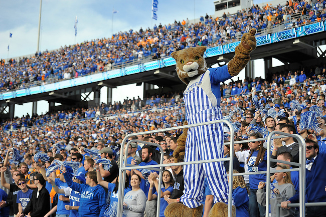 The UK Wildcat leading cheers during the second half of the University of Kentucky football game against Tennessee at Commonwealth Stadium in Lexington, Ky., on 11/26/11. UK won the game 10-7. Photo by Bob Weaver | Staff