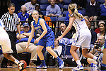 24 March 2014: DePaul's Megan Rogowski (21) and Duke's Tricia Liston (32). The Duke University Blue Devils played the DePaul University Blue Demons in an NCAA Division I Women's Basketball Tournament Second Round game at Cameron Indoor Stadium in Durham, North Carolina. DePaul won the game 74-65.
