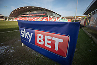 General view the Sky Bet branding ahead of the Sky Bet League 1 match between Fleetwood Town and MK Dons at Highbury Stadium, Fleetwood, England on 24 February 2018. Photo by David Horn / PRiME Media Images