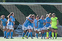 Seattle, WA - Sunday, April 17, 2016: Sky Blue FC midfielder Kelly Conheeney (24) celebrates scoring with Christie Rampone. Sky Blue FC defeated the Seattle Reign FC 2-1during a National Women's Soccer League (NWSL) match at Memorial Stadium.
