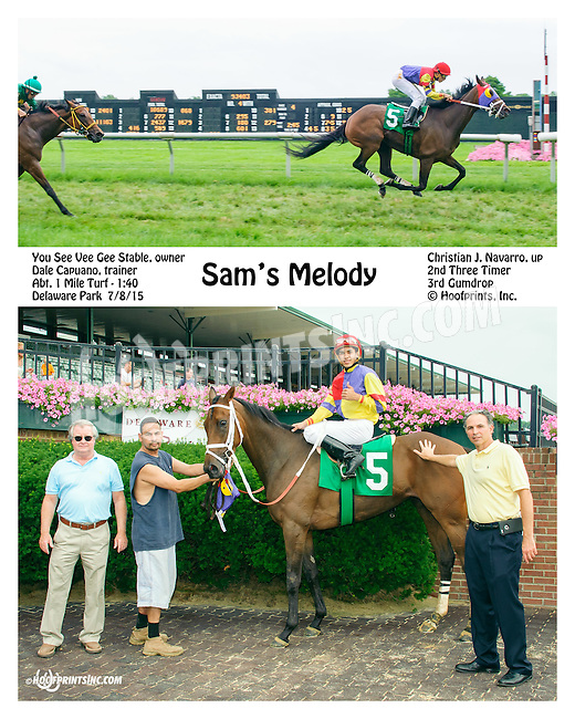 Sam's Melody winning at Delaware Park on 7/8/15