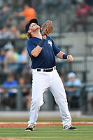 First baseman Dash Winningham (34) of the Columbia Fireflies plays defense in a game against  the West Virginia Power on Thursday, May 18, 2017, at Spirit Communications Park in Columbia, South Carolina. Columbia won in 10 innings, 3-2. (Tom Priddy/Four Seam Images)