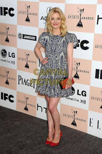 GILLIAN JACOBS.2011 Film Independent Spirit Awards - Arrivals held at Santa Monica Beach, - Santa Monica, California, USA, .26th February 2011..indie full length hand on hip red clutch bag snake shoes  blue print smiling  paisley white .CAP/ADM/BP.©Byron Purvis/AdMedia/Capital Pictures.