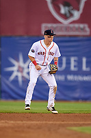 Salem Red Sox second baseman Brett Netzer (13) during the first game of a doubleheader against the Potomac Nationals on June 11, 2018 at Haley Toyota Field in Salem, Virginia.  Potomac defeated Salem 9-4.  (Mike Janes/Four Seam Images)