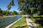 Nevada:  Reno, River Walk along Truckee River. Photo: nvre20105 .Photo copyright Lee Foster, www.fostertravel.com, 510/549-2202,  lee@fostertravel.com