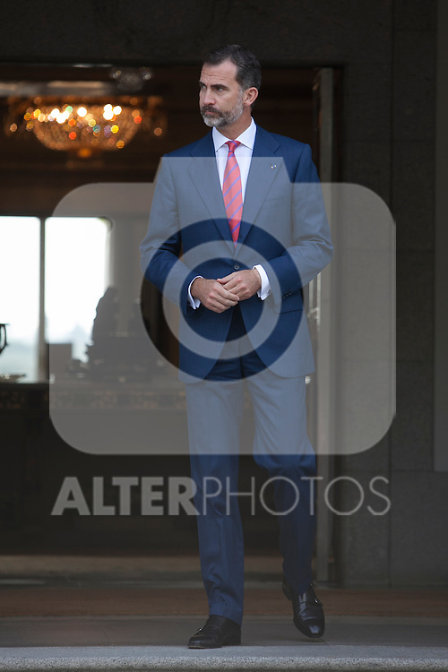 King Felipe VI of Spain during Chile´s President Michelle Bachelet Jeria reception at Zarzuela Palace in Madrid, Spain. October 29, 2014. (ALTERPHOTOS/Victor Blanco)