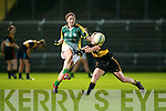 Southern Gaels Megan O'Connell gets her pass away under pressure..