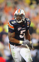 Jan 10, 2011; Glendale, AZ, USA; Auburn Tigers running back Michael Dyer (5) during the 2011 BCS National Championship game against the Oregon Ducks at University of Phoenix Stadium.  The Tigers defeated the Ducks 22-19. Mandatory Credit: Mark J. Rebilas-
