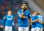 4.3.2018: Rangers v Falkirk Scottish Cup QF<br /> Daniel Candeias tells the Falkirk support to sssshh as Jason Cummings scores his second goal