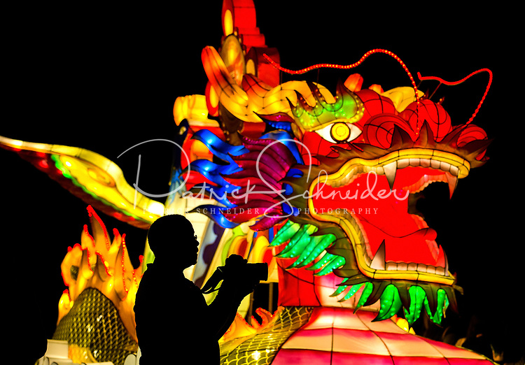 Photography of the Chinese Lantern Festival at the Daniel Stowe Botanical Gardens in Belmont, North Carolina. Illuminated animal lanterns come to life at dusk, allowing visitors to weave their way through more than 800 hand-crafted Chinese lanterns on the beautiful 12 acres of Daniel Stowe Botanical Garden as they explore Asian culture.<br /> <br /> Charlotte photographer - PatrickSchneiderPhoto.com