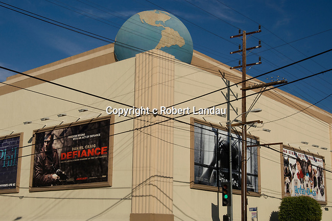 Exterior view of Paramount Studios with billboards of current films in Hollywood, CA