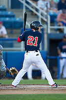 Cole Sturgeon (21) of the Salem Red Sox at bat against the Winston-Salem Dash at LewisGale Field at Salem Memorial Ballpark on May 13, 2015 in Salem, Virginia.  The Red Sox defeated the Dash 8-2.  (Brian Westerholt/Four Seam Images)