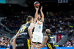 Real Madrid Sergio Llull and Iberostar Tenerife Fran Vazquez and Mamadou Niang during first match quarter finals of Liga Endesa Playoff between Real Madrid and Iberostar Tenerife at Wizink Center in Madrid, Spain. May 27, 2018. (ALTERPHOTOS/Borja B.Hojas)