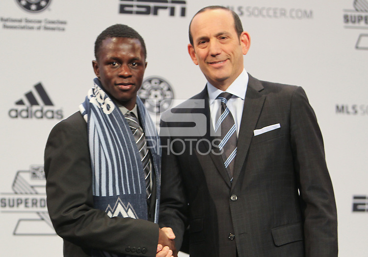 Indianapolis, IN, Thursday, Jan. 17, 2013: 2013 MLS Superdraft number four pick Kekuta Manneh goes to the Whitecaps FC.