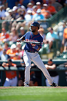 Minnesota Twins shortstop Danny Santana (39) squares to bunt during a Spring Training game against the Baltimore Orioles on March 7, 2016 at Ed Smith Stadium in Sarasota, Florida.  Minnesota defeated Baltimore 3-0.  (Mike Janes/Four Seam Images)