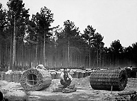 Making gabions, lines of investment, Petersburg, Va. 1865. Mathew Brady Collection. (Army)<br /> Exact Date Shot Unknown<br /> NARA FILE#:  111-B-4858<br /> WAR &amp; CONFLICT BOOK #:  160