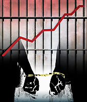 Rising graph and handcuffed prisoner