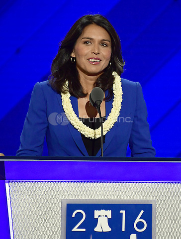 United States Representative Tulsi Gabbard (Democrat of Hawaii) places Senator Bernie Sanders' name into nomination for President of the United States during the second session of the 2016 Democratic National Convention at the Wells Fargo Center in Philadelphia, Pennsylvania on Tuesday, July 26, 2016.<br /> Credit: Ron Sachs / CNP/MediaPunch<br /> (RESTRICTION: NO New York or New Jersey Newspapers or newspapers within a 75 mile radius of New York City)