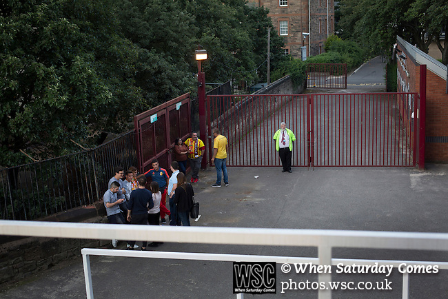 Heart of Midlothian 1 Birkirkara 2, 21/07/2016. Tynecastle Park, UEFA Europa League 2nd qualifying round. Away supporters congregating behind the Roseburn stand during half-time at Tynecastle Park, Edinburgh as Heart of Midlothian played Birkirkara of Malta in a UEFA Europa League 2nd qualifying round, second leg. The match ended in victory for the Maltese side by 2-1 and they progressed on aggregate after the first match had ended 0-0. The game was watched by 14301 spectators, including 56 visiting fans of Birkirkara. Photo by Colin McPherson.