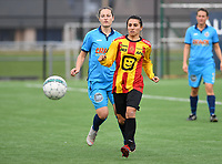 20191005  -  Diksmuide , BELGIUM : KV Mechelen's Pure Eke  pictured with FWDM's defender Lisa Coppein during a footballgame between the womensoccer teams from Famkes Westhoek Diksmuide Merkem and KV Mechelen Ladies A , on the 5th matchday in the first division , 1e nationale , in Diksmuide - Belgium - saturday 5th october 2019 . PHOTO DAVID CATRY   Sportpix.be