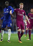 Kevin De Bruyne of Manchester City is challenged by Tiemoue Bakayoko of Chelsea during the premier league match at the Stamford Bridge stadium, London. Picture date 30th September 2017. Picture credit should read: Robin Parker/Sportimage