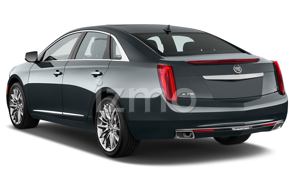 Rear three quarter view of a 2013 Cadillac XTS Platinum sedan