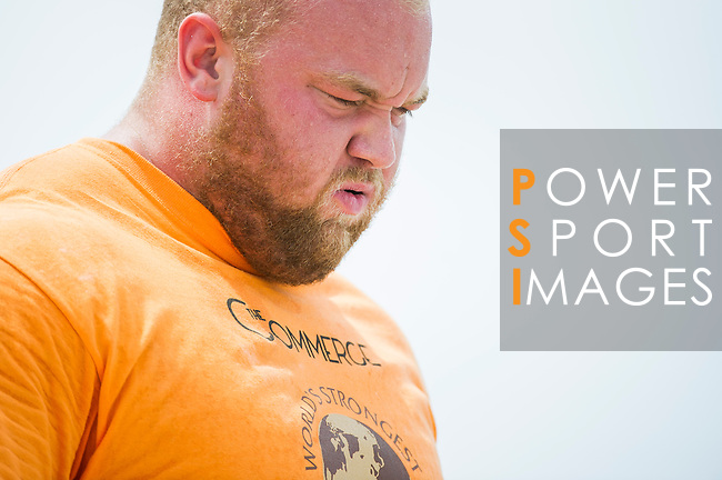 HAINAN ISLAND, CHINA - AUGUST 23:  Hafthor Bjornsson of Iceland competes at the Truck Pull event during the World's Strongest Man competition at Serenity Marina on August 23, 2013 in Hainan Island, China.  Photo by Victor Fraile