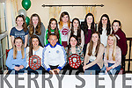 Barry John Keane presents the Listry/Milltown u14 girls their County League and East Kerry League medals in the Faha Court hotel on Saturday night front row l-r: Maeve Rochford, Ciara Murphy, Quinn Dwyer, Ella Teahan, Caoimhe Evans. Back row: Mairead Lehane, Sarah O'Shea, Lauren Evans, Leanne Cronin, Ciara Tangney, Niamh Foley, Aoife Corcoran and Louise O'Dowd